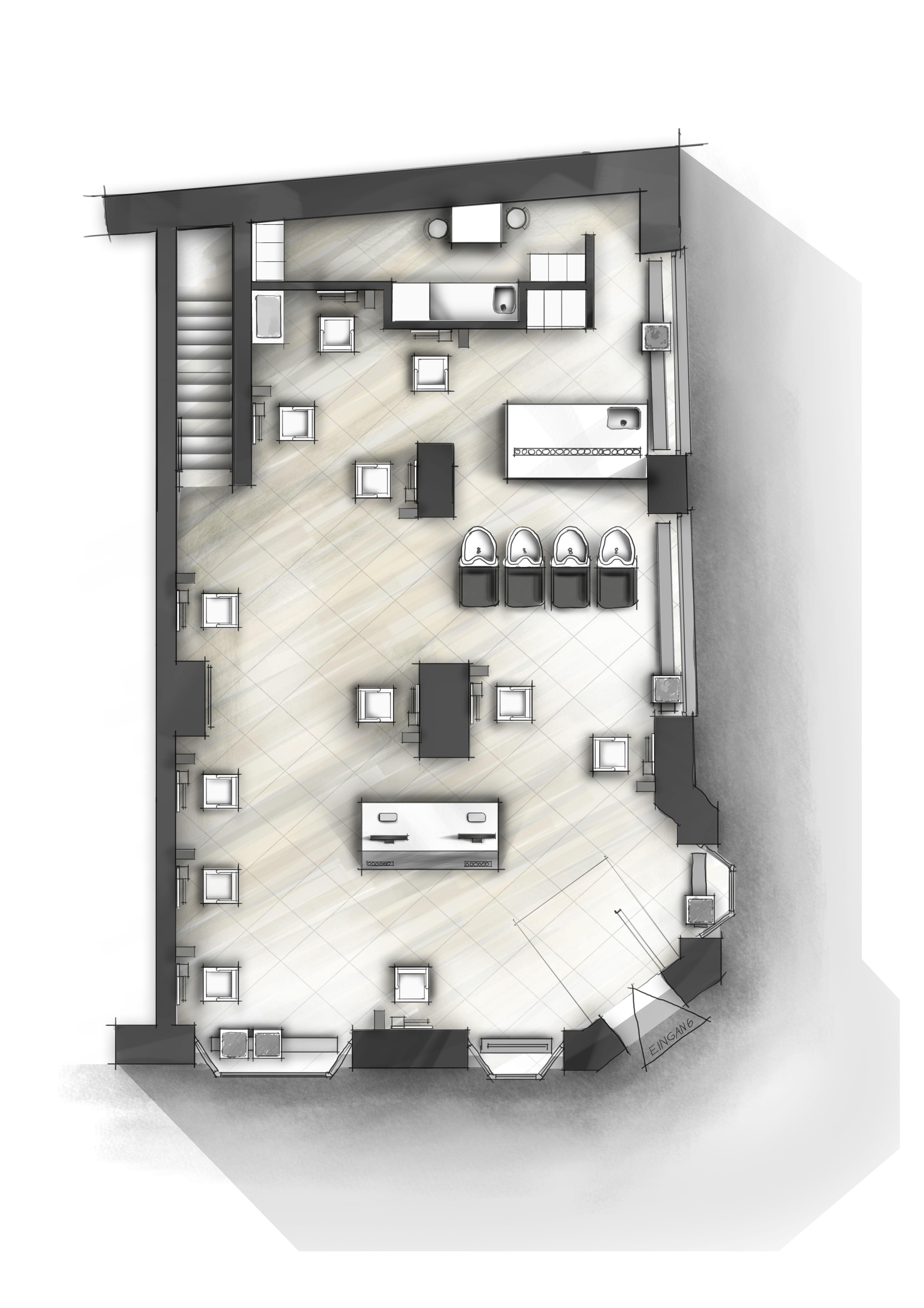 Kolorierter Grundriss I Plangrafik innenarchitektur