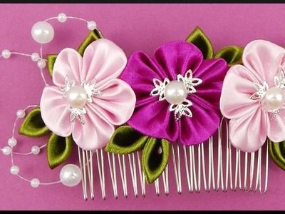 DIY Kanzashi | Stoff Blumen Haarspange | Ribbon flower hair comb | accessories barrette #ribbonflower