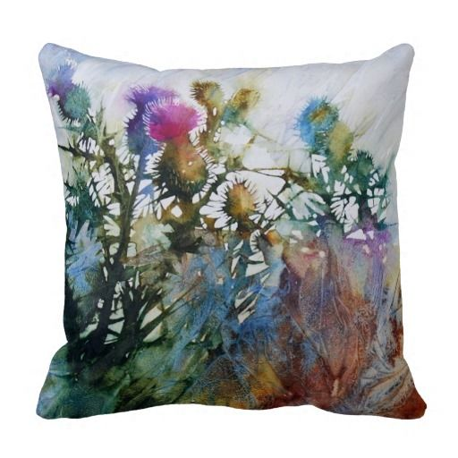 16x16 Beautiful Thistles Watercolor Throw Pillow