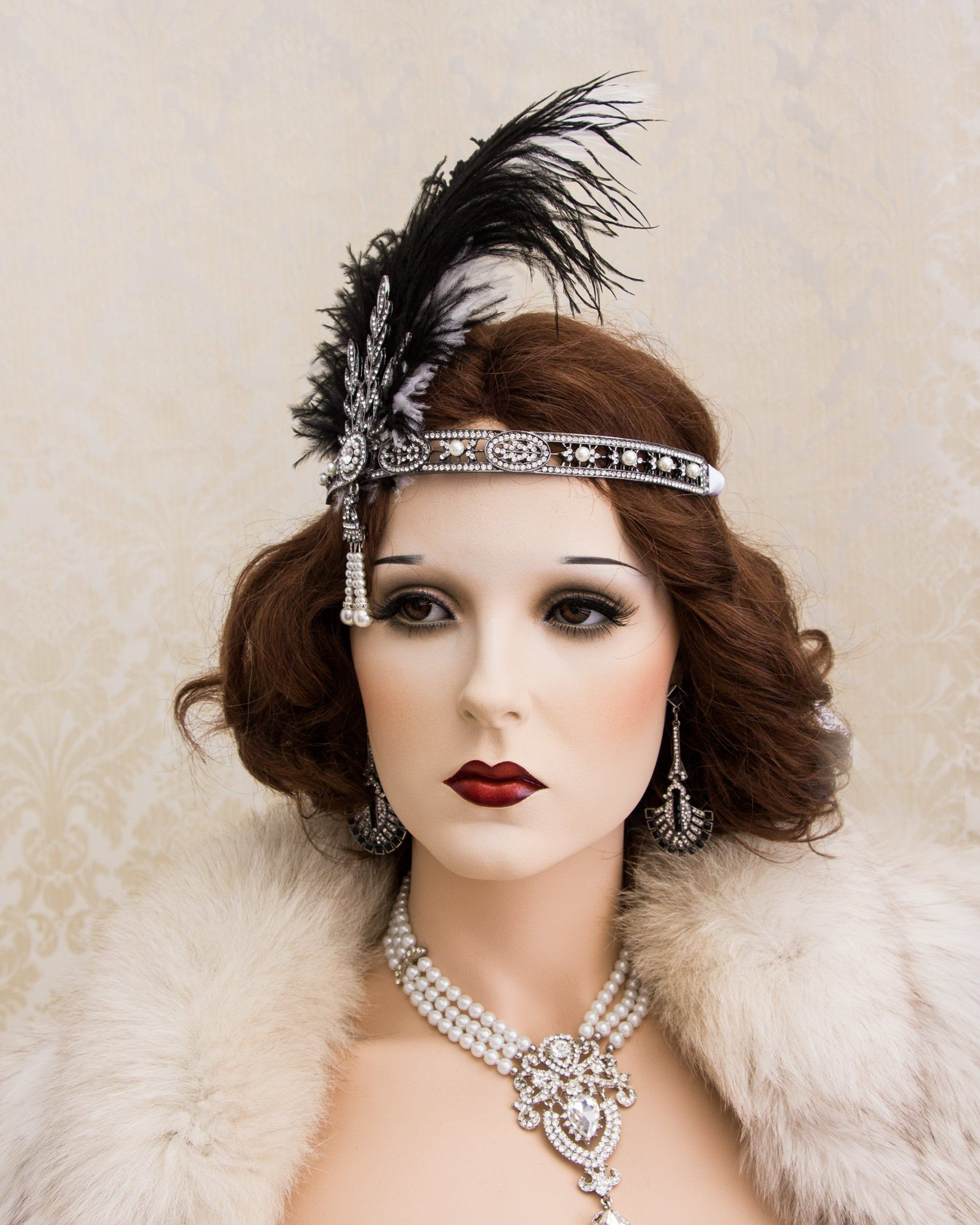 Great Gatsby Headband with Ostrich Feathers, Art Deco Headband, New Year's Eve Party Daisy Costume Headpiece