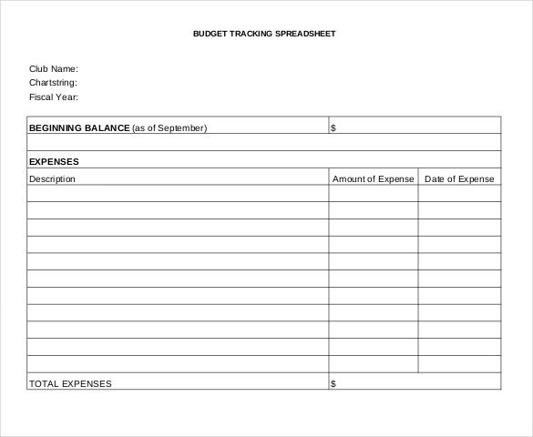Fee Budget Tracking Spreadsheet Free Format  Budget Tracking