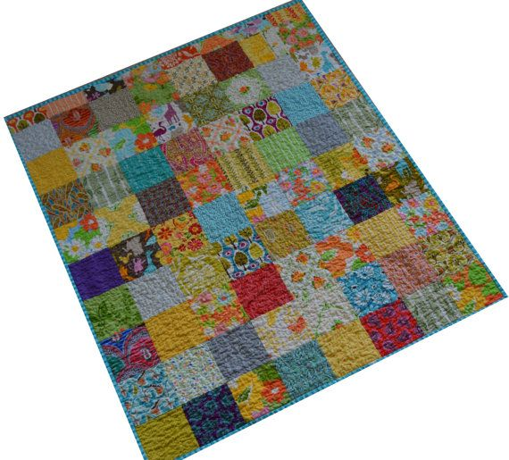HURRY LABOR DAY Sale Colorful Baby Quilt Baby by PlatoSquirrel