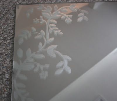 Diy Mirror Etching Make A Stencil From The Pattern On My Living Room Curtains Blow Up To Size And Etch Over 3x3 Or 4x4 Mirror H Etched Mirror Diy Mirror Diy