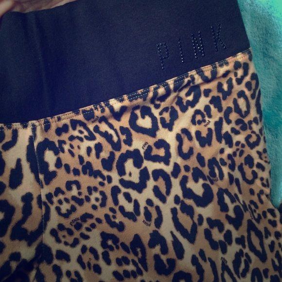 Cheetah PINK leggings Great condition leggings ! Like new PINK Victoria's Secret Pants Leggings