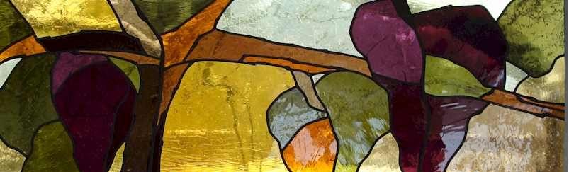 glas in lood : druiven