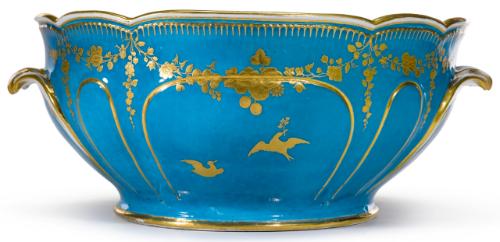 Rare Vincennes Bleu Celeste - Ground Punch Bowl, circa 1750.