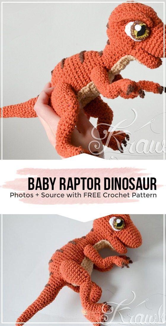 crochet Baby Raptor Dinosaur pattern #dinosaur