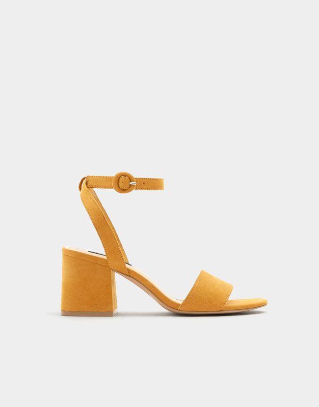 185ad043aec Pull Bear - femme - nouveautés - sandales jaune moutarde à talon midi bride  cheville - moutarde - 11627311-V2018