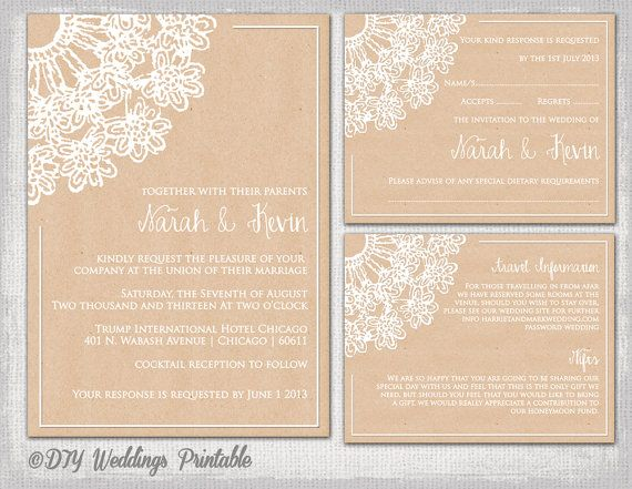 Rustic Wedding Invitation Template DIY Lace Doily Printable Kraft Invitations RSVP Postcard Information Reception Enclosure Card
