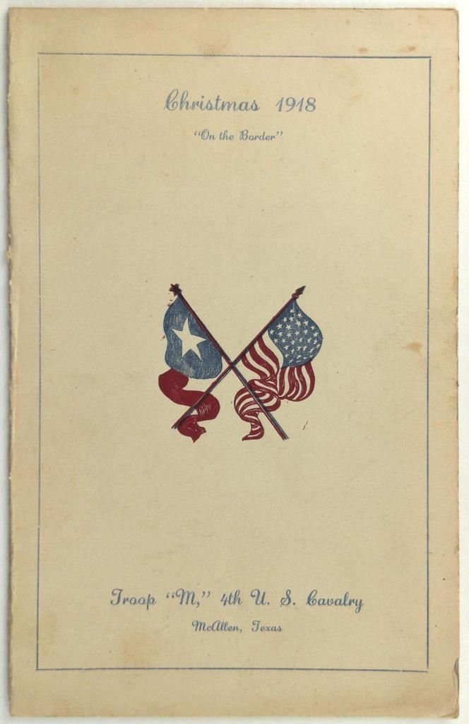 1918 4th Cavalry Troop M Army Christmas Dinner Menu Roster