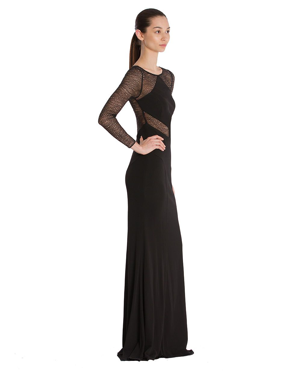 Women\'s Clothing | Formal/Evening | Mesh-Inset Matte Jersey Gown ...