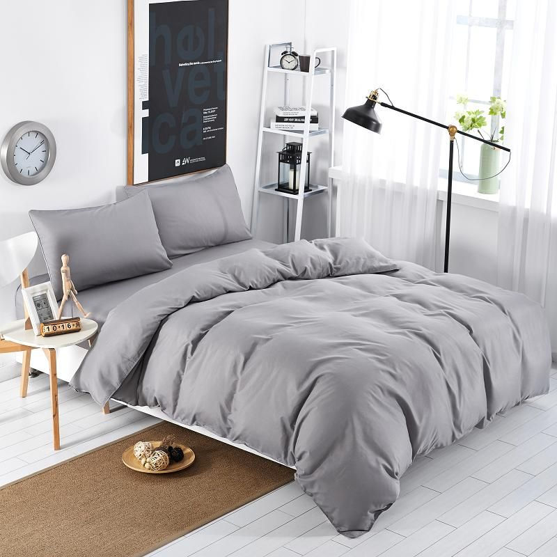 Home Textiles Silver Gray Solid Color Bedding Sets Bedspread King Queen Full Size Of Duvet Cover Bed Sheet Pillowc Modern Bed Set Gray Duvet Cover Grey Bedding