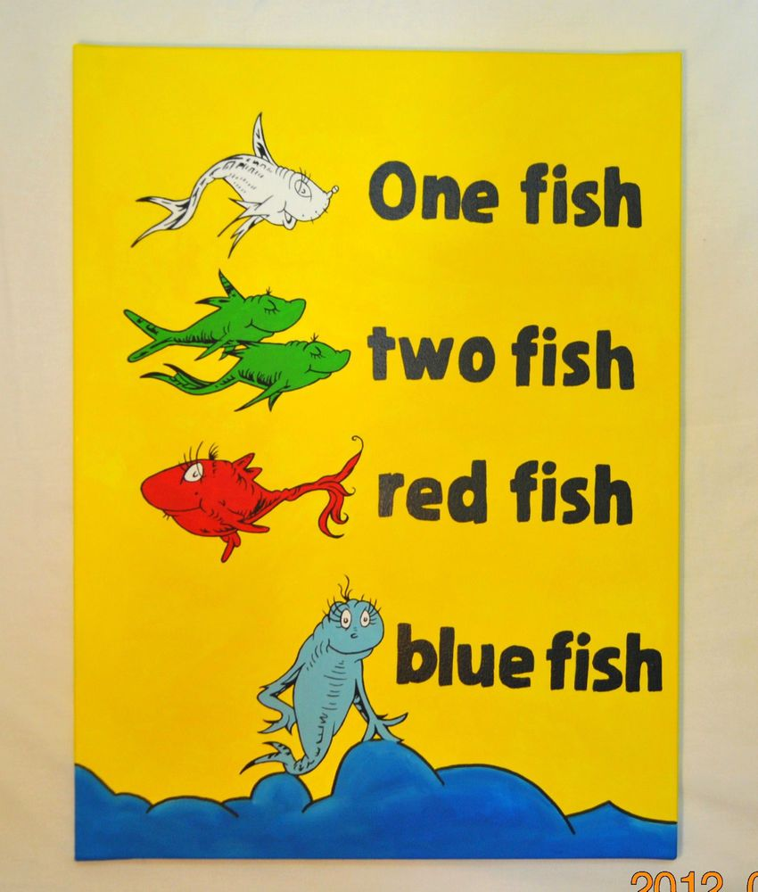 Dr Seuss inspired Canvas Painting One Fish Two Fish 16\