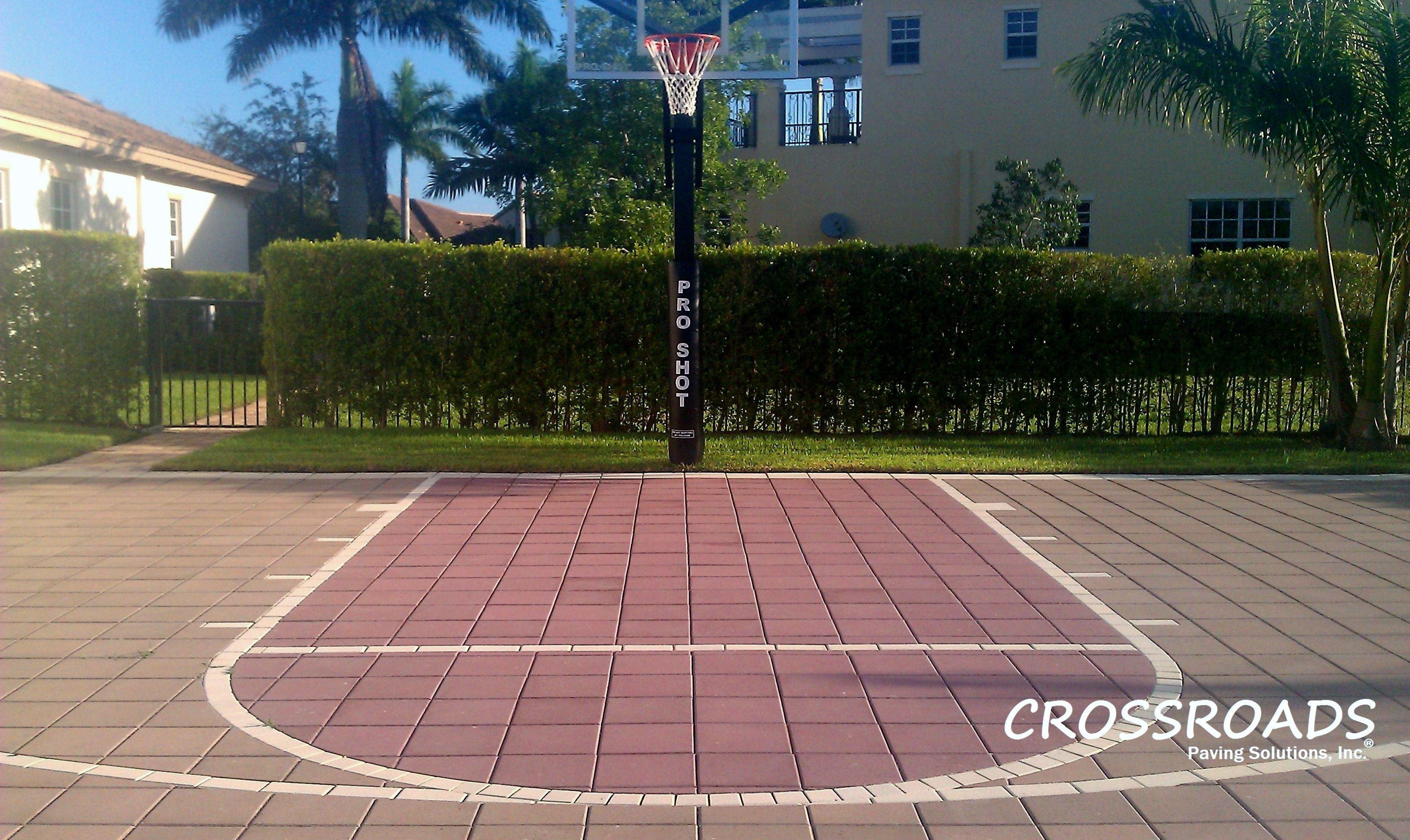 Paver basketball court cool ideas pinterest for Homemade indoor basketball court