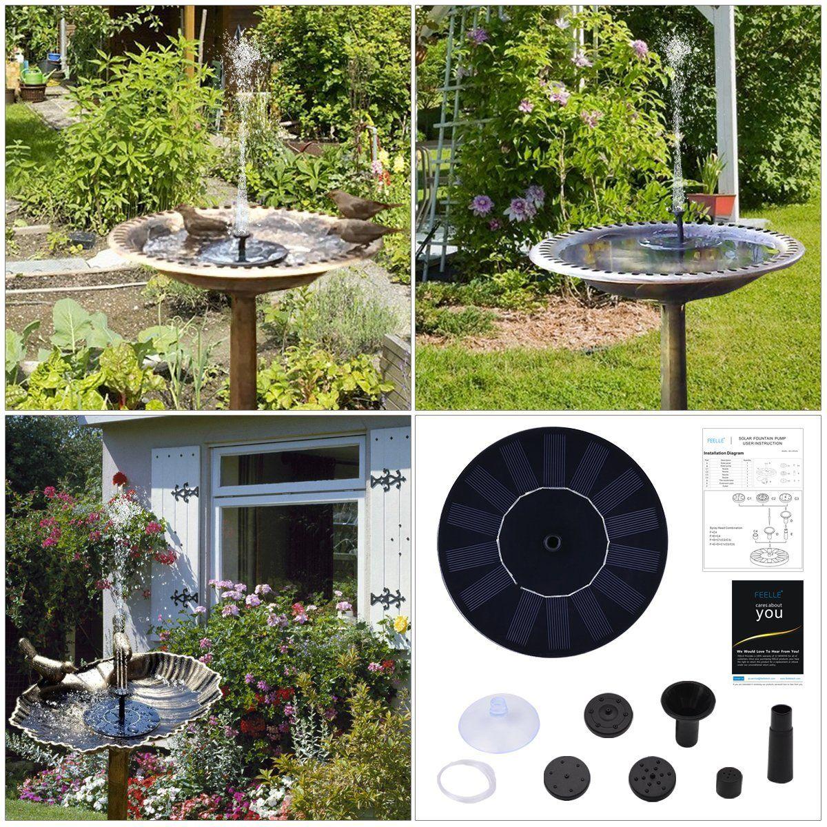 Solar Fountain Pump, FEELLE Solar Powered Floating Fountain Kit ...