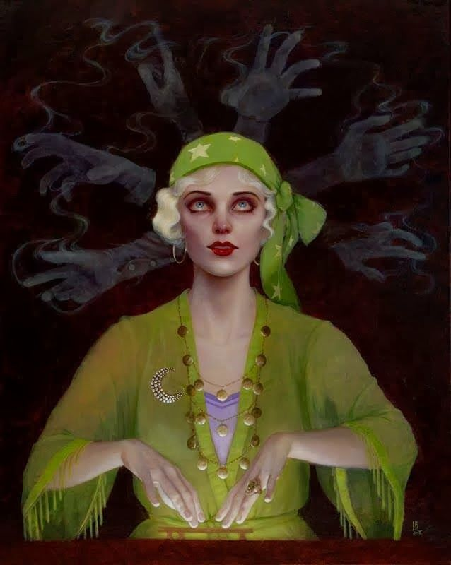 green - woman - painting - Laurie Lee Brom