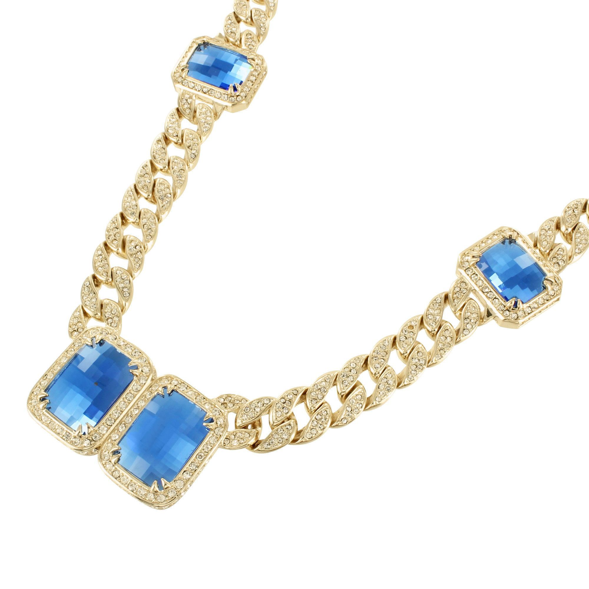 Miami Cuban Necklace Yellow Gold Finish Solitaire Cobalt Blue ...