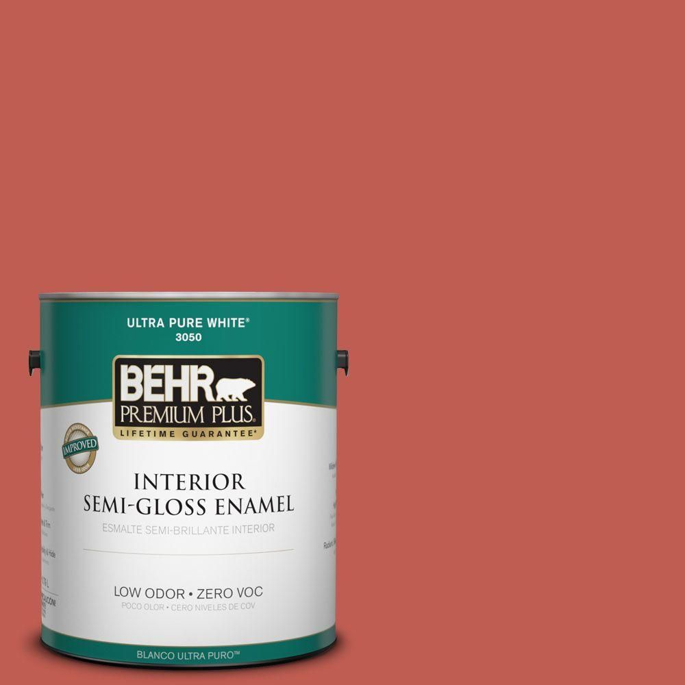 BEHR Premium Plus 1-gal. #190D-6 Red Jalapeno Zero VOC Semi-Gloss Enamel Interior Paint