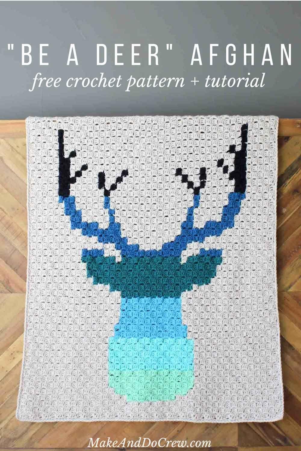 Modern Corner to Corner Crochet Deer Afghan - Free Pattern | Cobija ...