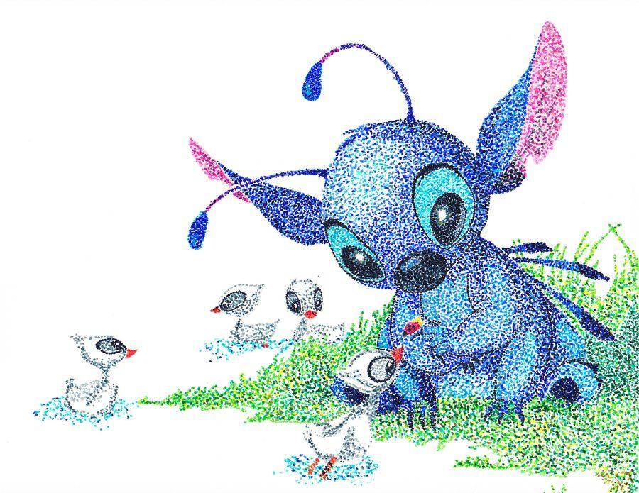 Stitch Pointillism By TheVampireSamdeviantartcom Art