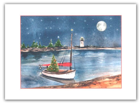 catboat in the bay christmas cards 10 per box catboat cards nautical holiday cardssailors gift classic boat card catboat gift - Nautical Christmas Cards