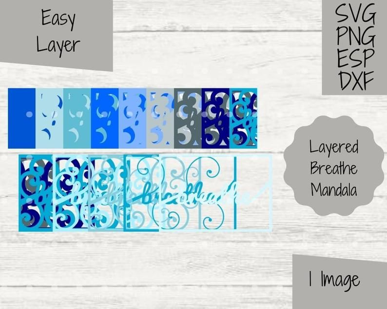 Layered Breathe 3D Mandala SVG File Cricut and Silhouette Paper Cutting Craft Project Calming Clipart Peaceful Namaste Boho Craft PNG