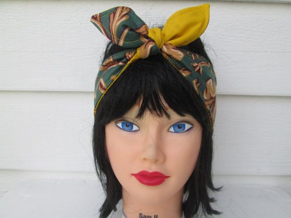 Psychedelic bandanna.Gorgeous reversible Hairband Ready to ship  So cute!  This Rosie Wrap is made from NEW 100% cotton which means it wont slip of