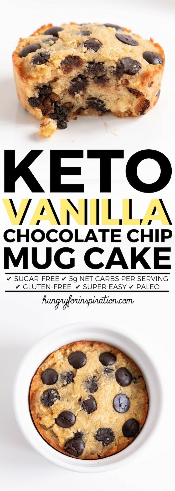 Easy Vanilla Chocolate Chip Keto Mug Cake with only 5g net carbs per serving! Easy Keto Dessert Or Keto Snack to make when sweet cravings strike you! Healthy, delicious, gluten-free! #keto #ketodessert #ketosnacks #ketorecipes #ketodiet #ketogenic #ketogenicdiet #lowcarb #lowcarbrecipes #lowcarbrecipes #lowcarbdiet #lowcarbdessert #lowcarbsnacks #mugcake #ketodessert