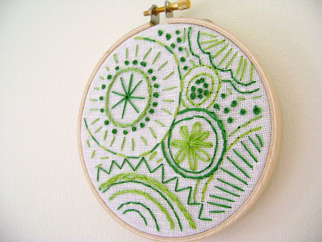 Embroidery Doodles  Do this with circular quilting motifs.  Good idea for studio