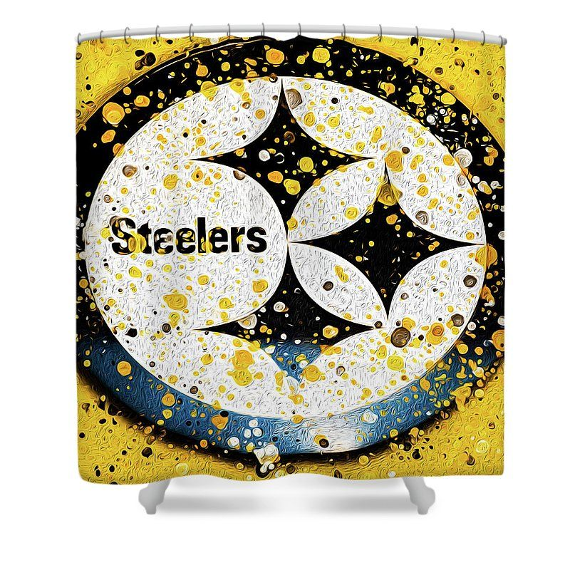 Pittsburgh Steelers Decor Shower Curtain Bathroom Decor Steelers Fan Gold Shower Curtain Gold Shower Curtains With Rings