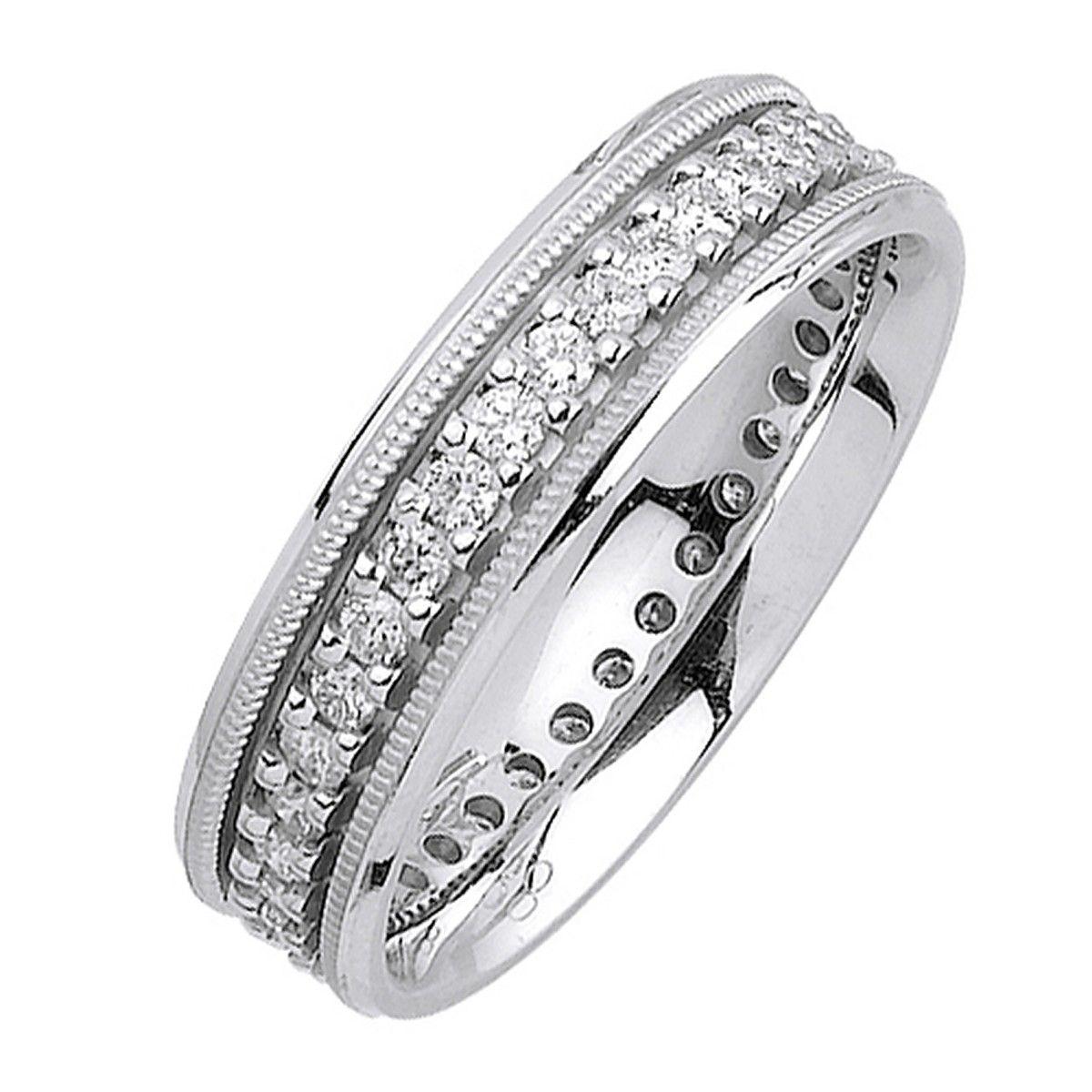 6mm 18K White Gold Men's Diamond Ring .93CT Diamond
