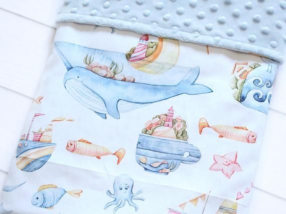 Personalized Whale Baby Boy Blanket, Narwhal Minky Lovey, Security Blanket, Nautical Nursery Bedding, Stroller Blanket, Custom Baby Gift #securityblankets