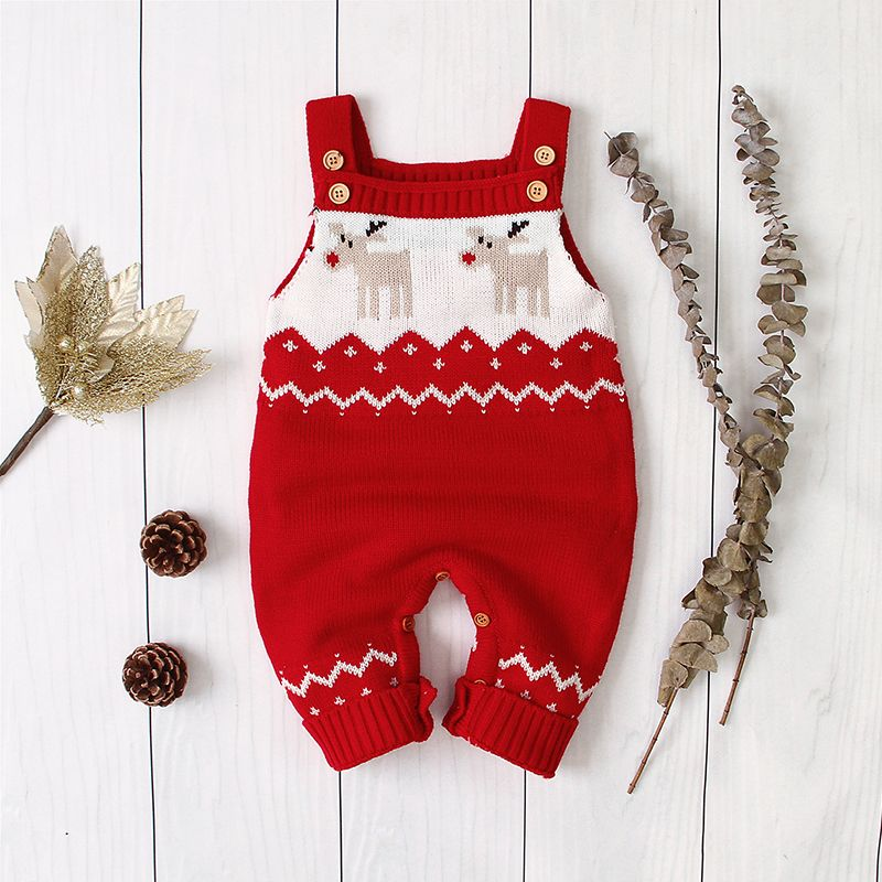 Photo of Baby Boy / Girl Christmas Newborn Cotton Style Knitted Reindeer Embroidery Sleeveless Jumpsuit