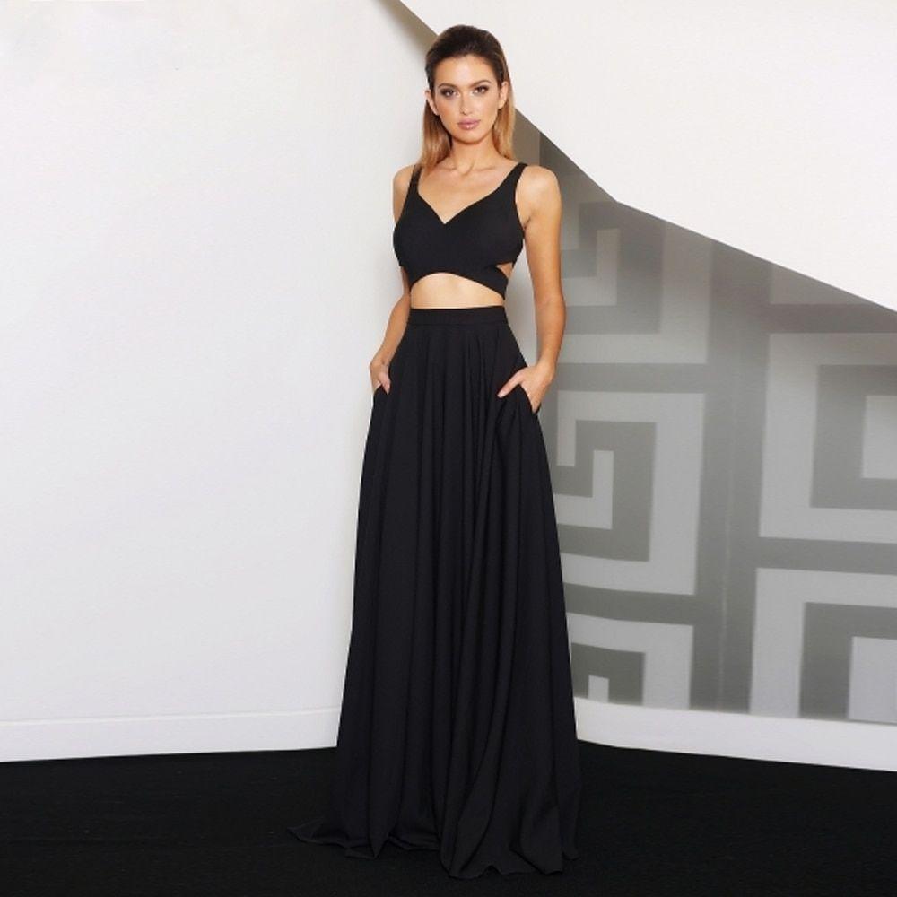 Jadore J8045 Ricki Two Piece Black With Maxi Skirt Formal Dresses Two Piece Formal Dresses Formal Dresses Long [ 1000 x 1000 Pixel ]