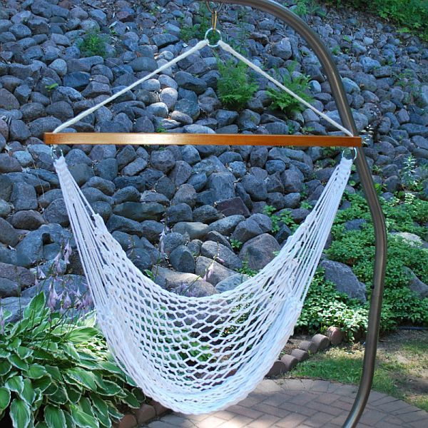 Superb White DIY Hammock Chair Stand Design Ideas For Outdoor