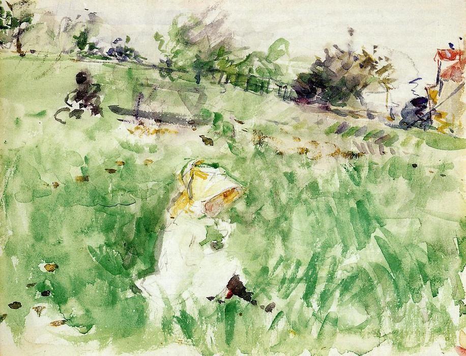 Berthe Morisot Peu Fille Assis Sur L Herbe