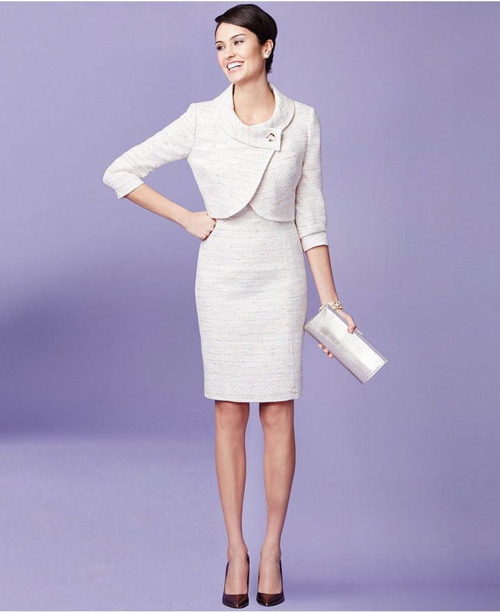 Tahari Asl Tweed One Button Dress Suit Mother Of The Bride