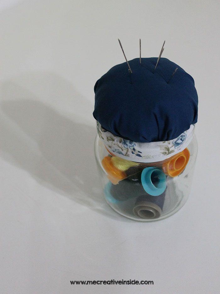 tutorial diy idee facili riciclo creativo barattolo porta ago e filo ME creativeinside mecreativeinside