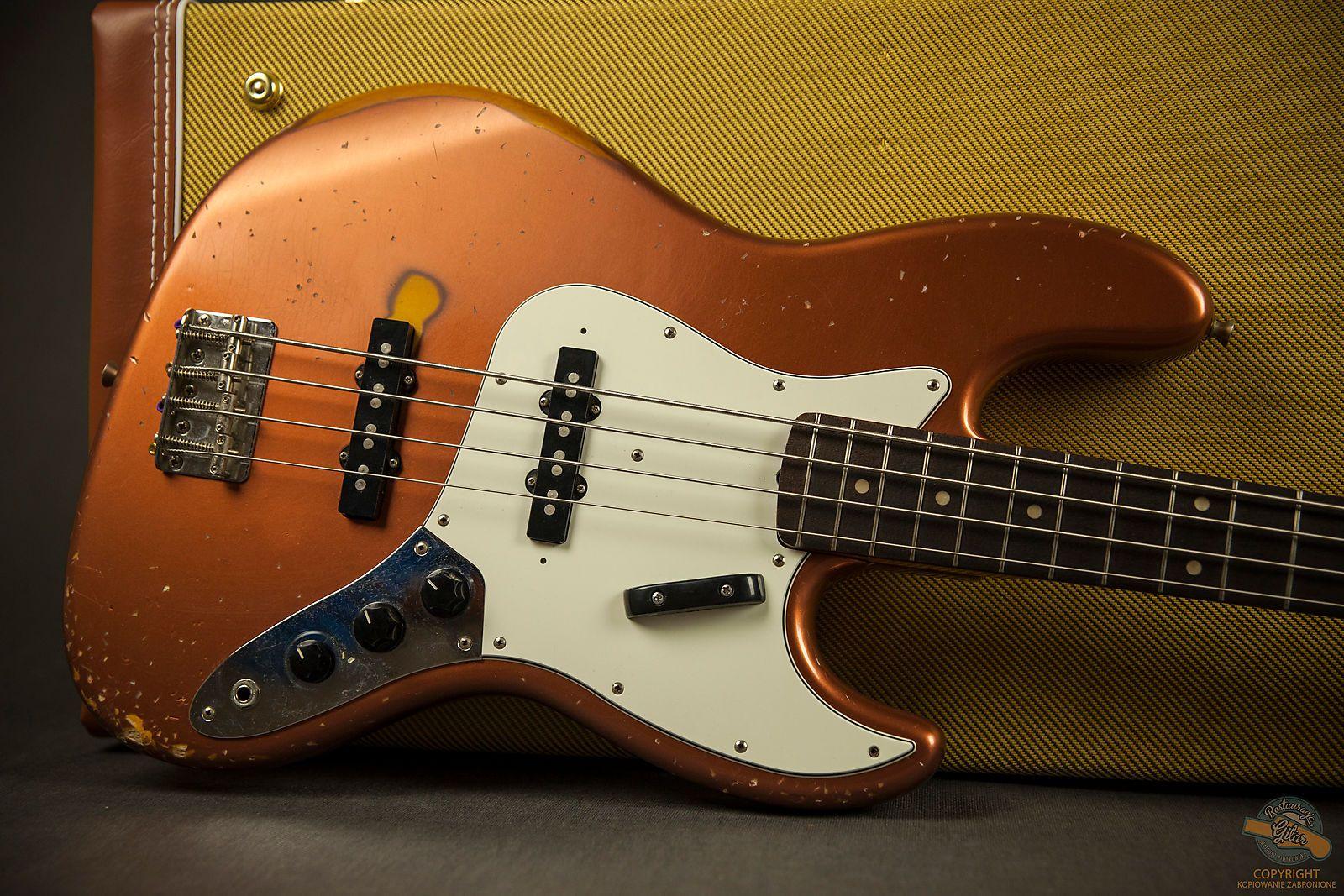 Fender Jazz Bass Custom Relic 1994 Copper Metallic Nitro Guitar Restaurant Reverb Fender Jazz Bass Fender Jazz Guitar