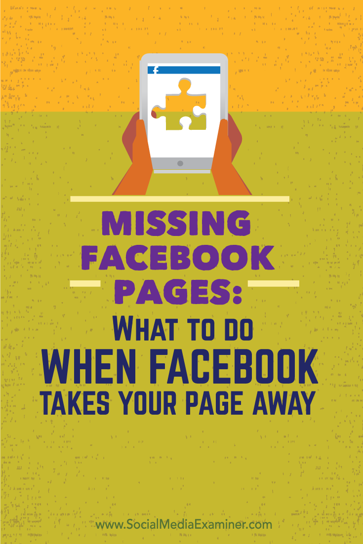 Do you know what to do if your Facebook page vanishes?  Want to be ready when and if that day comes?  To see what happened when the Social Media Examiner Facebook page disappeared and how we handled it, click to read! Via @smexaminer