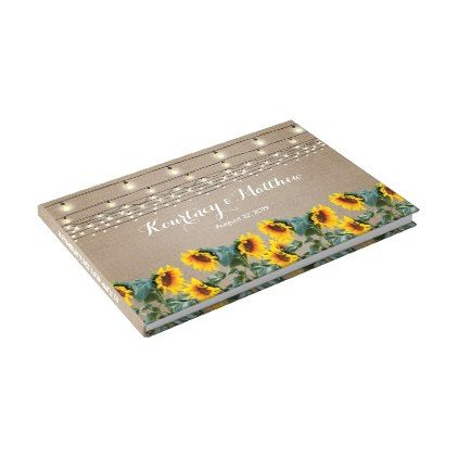 Rustic Garden Sunflowers And String Lights Wedding Guest Book