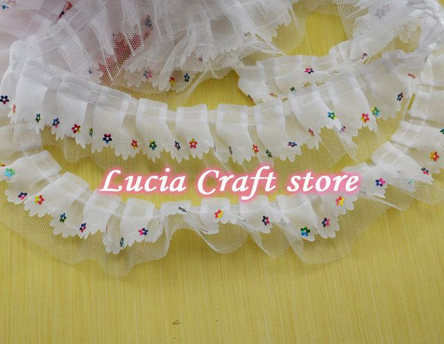 2y/lot 4.5cm Elegant Flower embroidered lace with trim lace embellishment garment lace DIY accessories 050025065