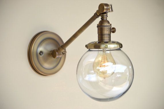 Sconce Lighting With Glass Globe Shade Adjustable Arm Fixture Sconce Lighting Vintage Light Fixtures Sconces