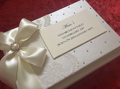 Details About Wedding Guest Book Engagement Gift Vintage Ivory Lace Luxury Boxed