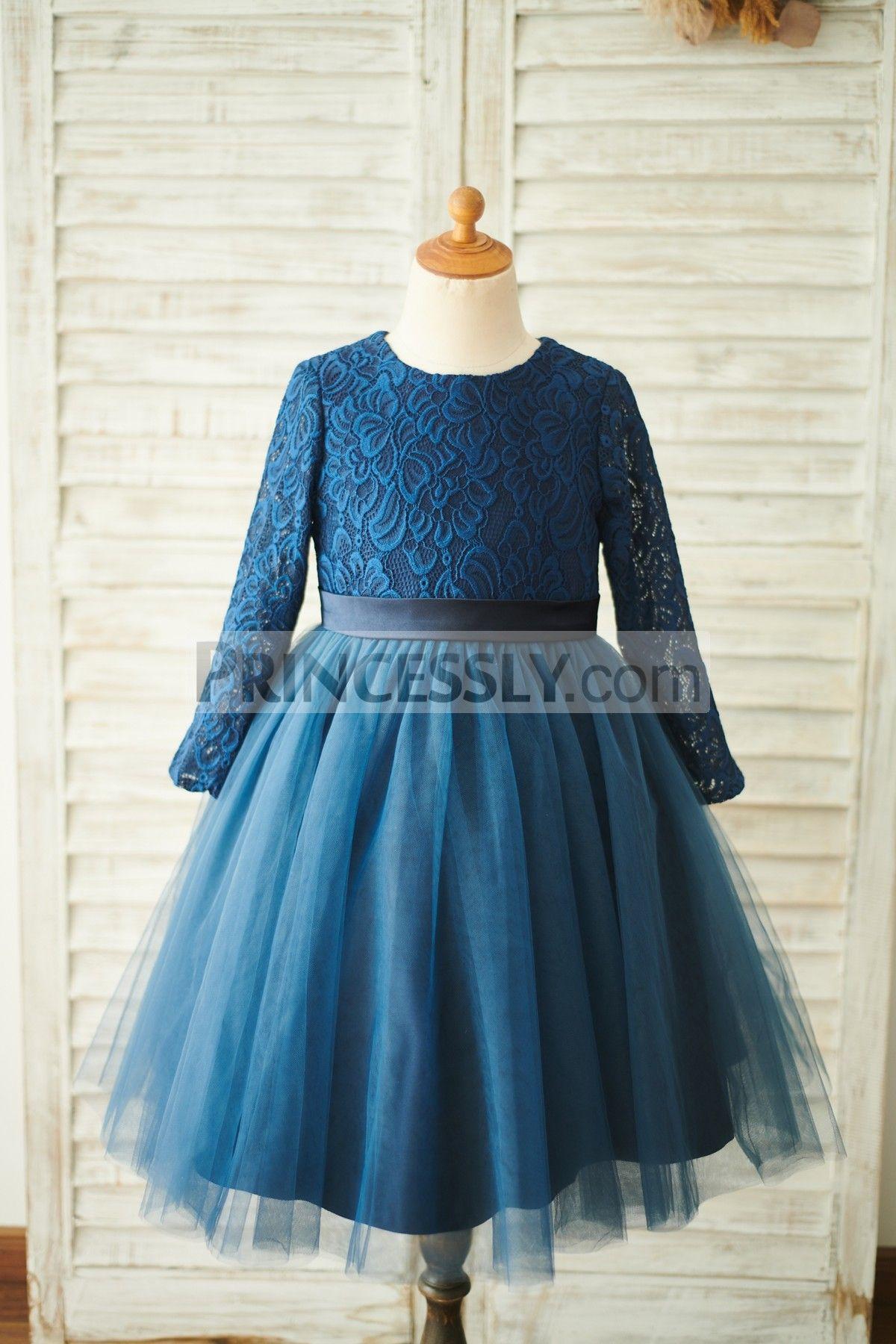 7e0659c5356 Navy Blue Lace Tulle Long Sleeves Wedding Flower Girl Dress