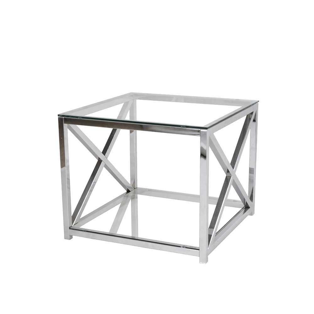Kleiner Sofatisch Mit Glas Mit Glas Metall Chrom 60x50x60 Amigo