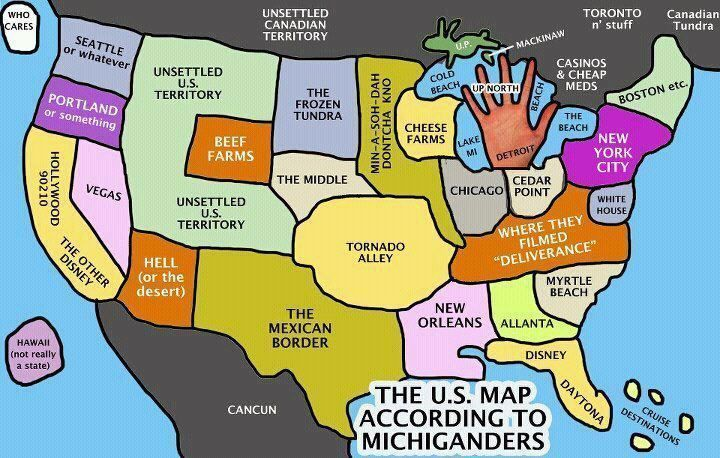 US Map According To Michiganders Funny Maps Pinterest Funny Maps - Funny us map stereotypes