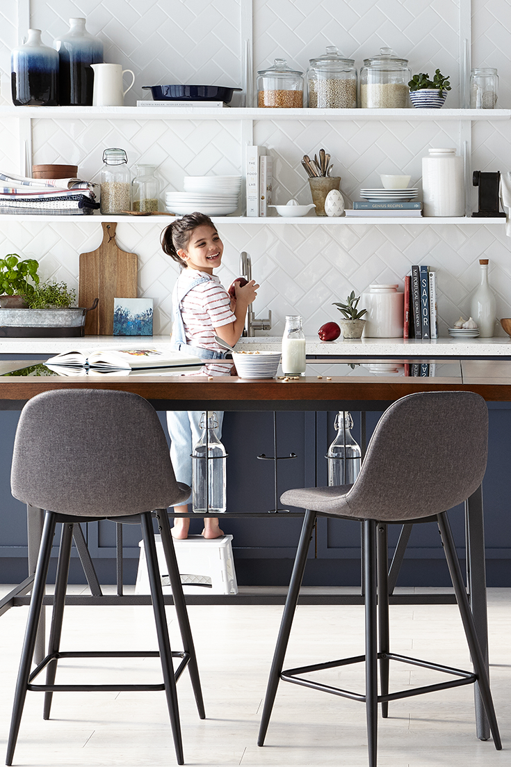 Try this A counterheight dining table is the perfect