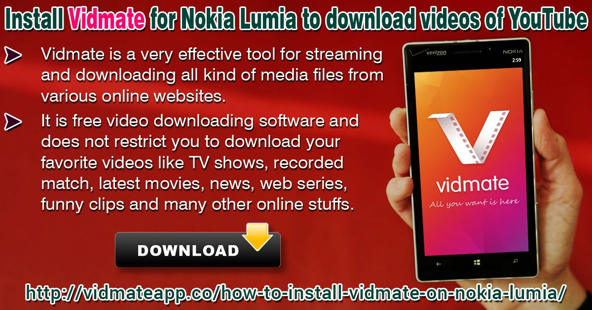 Pin by Vidmate App on Install Vidmate For Nokia Lumia to