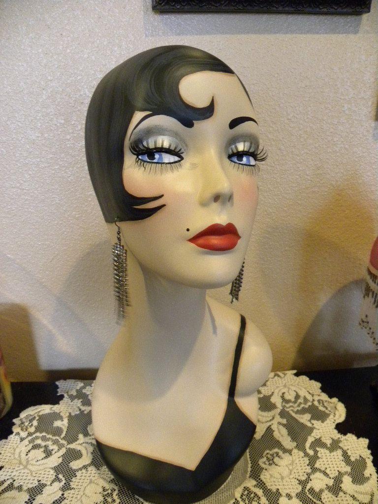 vintage style art deco flapper 19 mannequin head hat. Black Bedroom Furniture Sets. Home Design Ideas